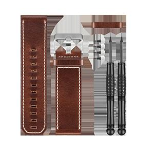 fēnix® 3棕色皮表带(银色表扣)