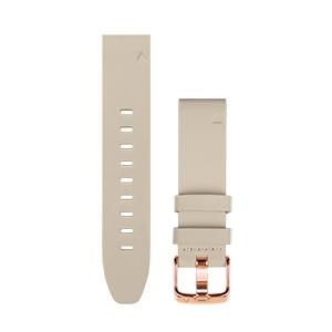 玫瑰金米白皮质表带(20mm)